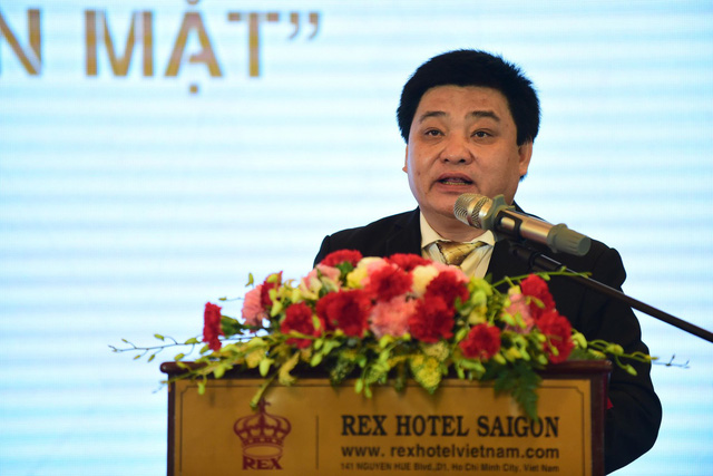 Le The Chu, Editor-in-Chief of Tuoi Tre, speaks at the seminar 'Towards a cashless society' in Ho Chi Minh City on January 15, 2019. Photo: Tuoi Tre
