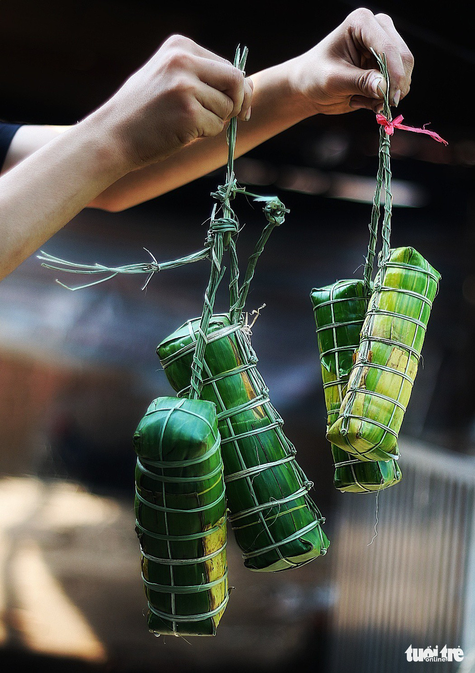 'Banh tet' are typically made and sold in pairs. Photo: Tuoi Tre
