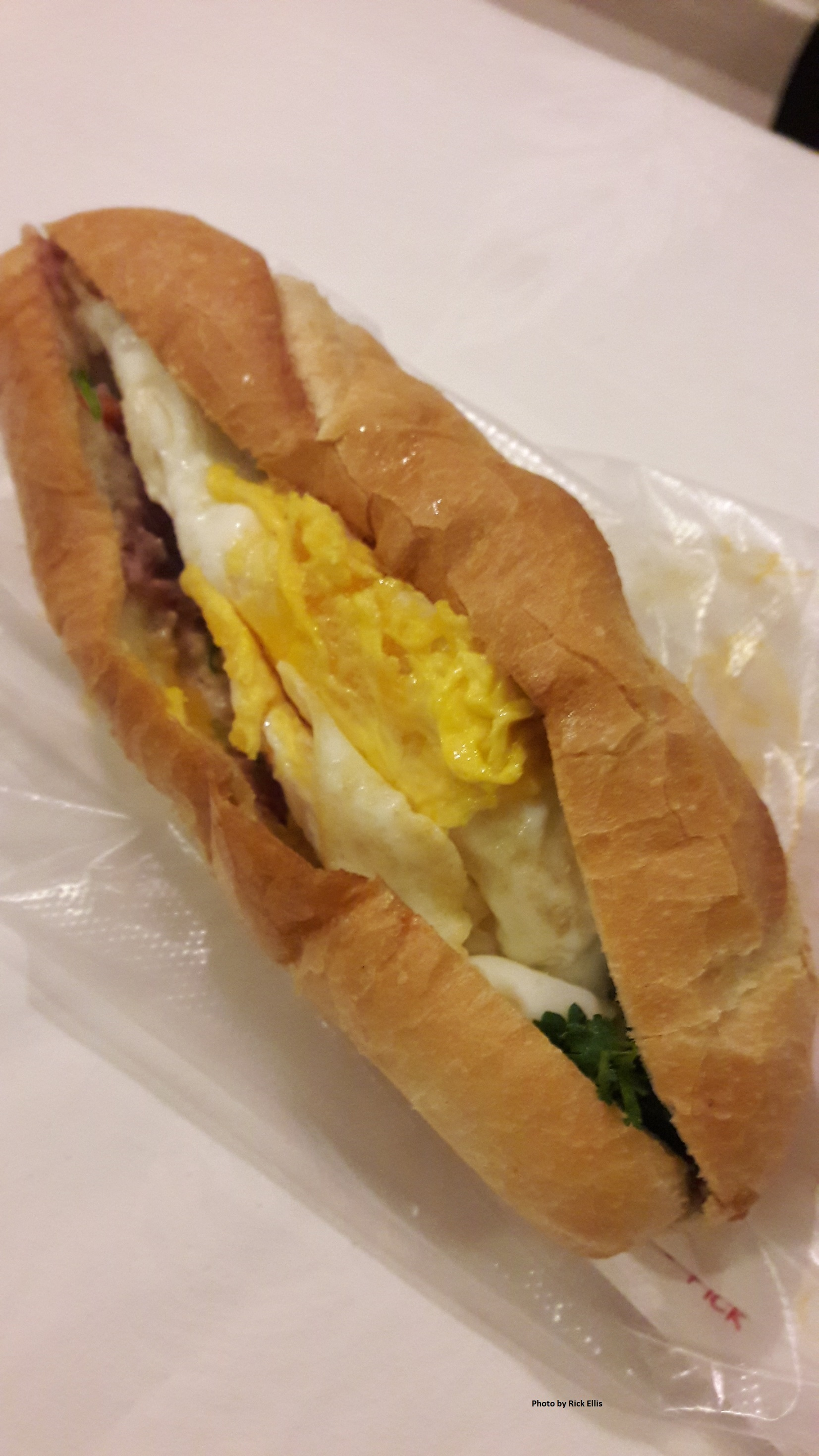 A two-egg banh mi sandwich