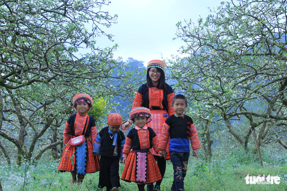 Residents of the local Mong ethnic minority visit a blossoming plum garden in Moc Chau. Photo: Tuoi Tre