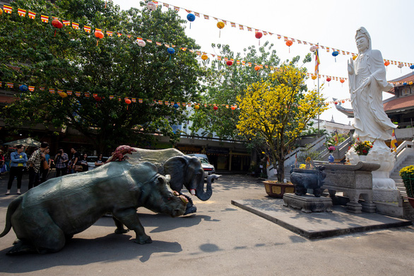 Lifelike statues of a de-horned rhino with horned, a pangolin stripped of its scales, and an ivory-sawed elephant are seen at Vinh Nghiem Pagoda in District 3, Ho Chi Minh City on January 28, 2019. Photo: CHANGE