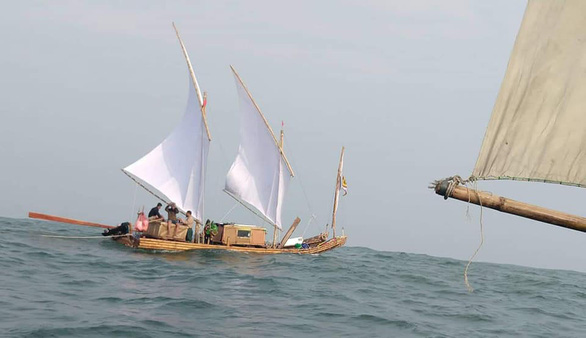 Seven Vietnamese skirt country's coast on bamboo rafts