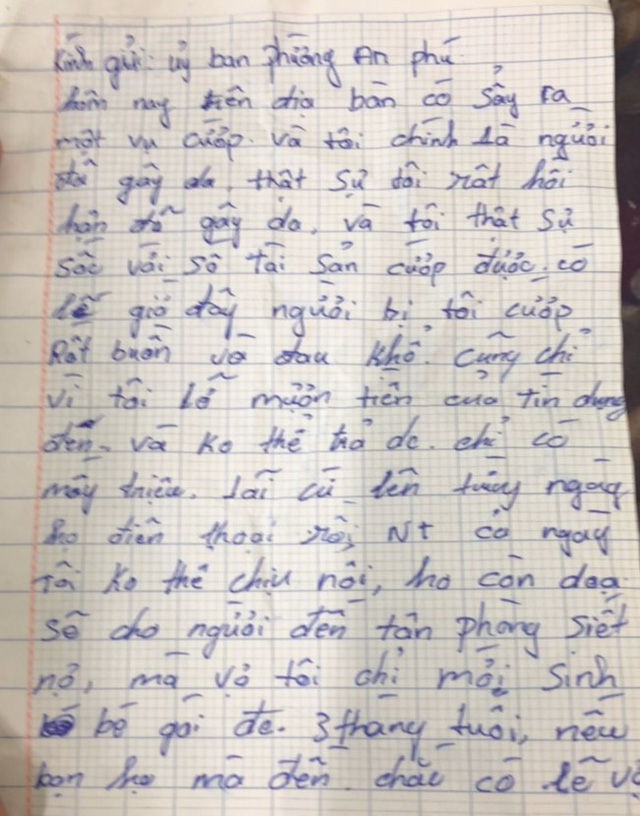 A photo capturing a page of the robber's apology letter