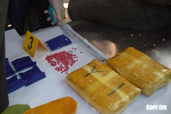 Drugs packages and meth pills confiscated from a bus in Thu Thien-Hue Province, central Vietnam, February 2, 2019. Photo: Thuong Hien / Tuoi Tre