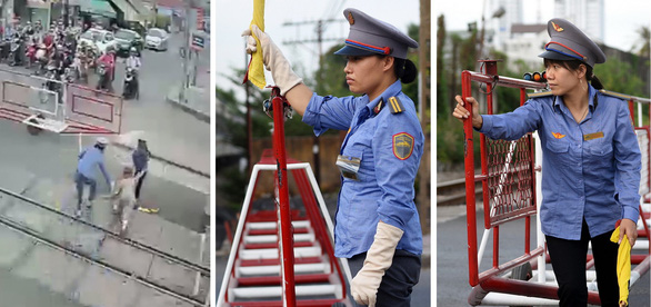 In Vietnam, guards drag woman out of railway seconds before train comes