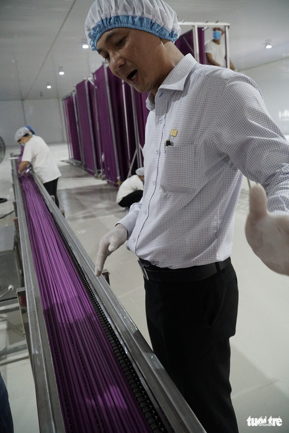 Vo Minh Khang, head of the firm that makes flour straws, shows the products at its factory in Dong Thap Province, southern Vietnam. Photo: Ngoc Tai / Tuoi Tre