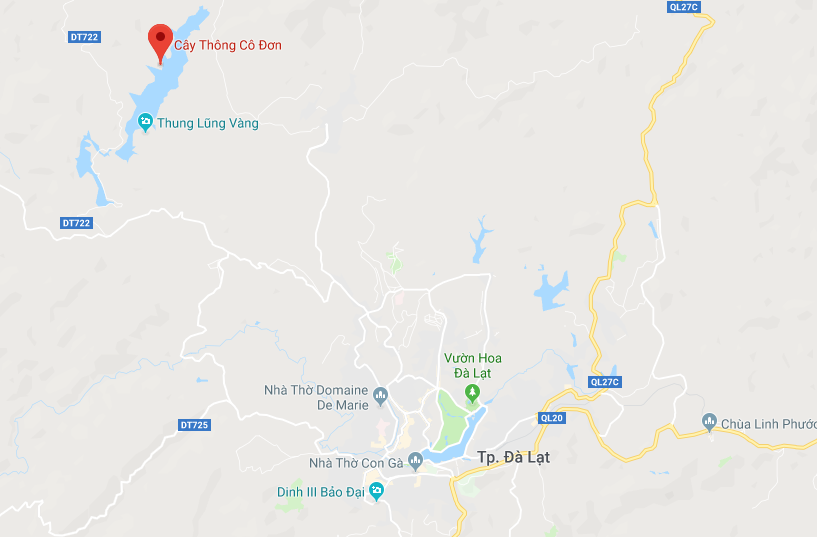 A map showing the location of the lonely pine tree