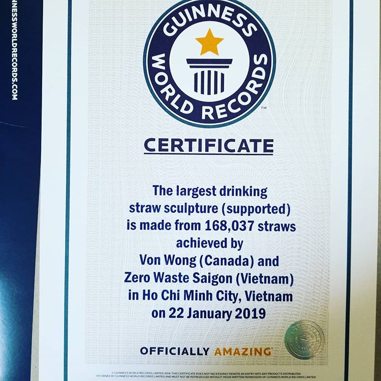 A certificate recognizing The Parting of the Plastic Sea as the largest drinking straw sculpture (supported) by Guinness Word Record shown by Von Wong
