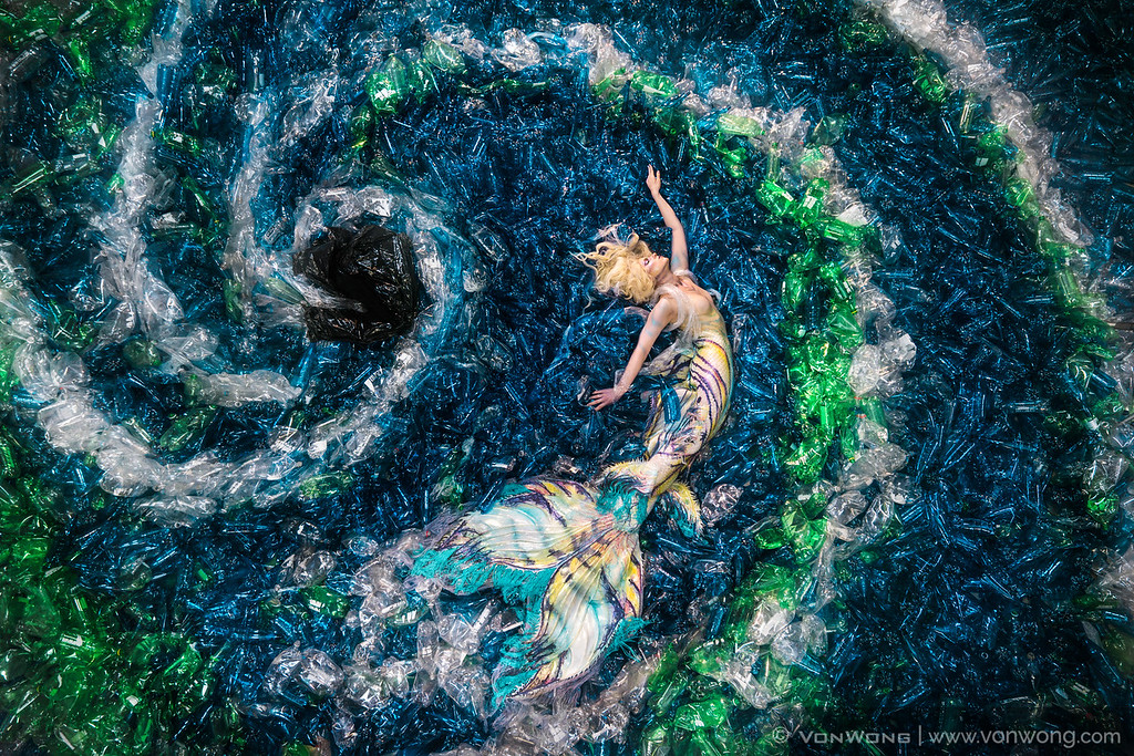 A photo from Von Wong's Mermaids Hate Plastic project