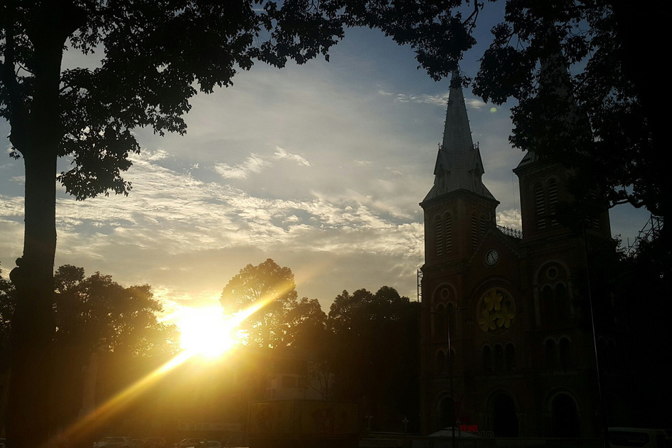 The Notre Dame Cathedral in District 1, Ho Chi Minh City is seen in the sunset light. Photo: Gia Tien / Tuoi Tre