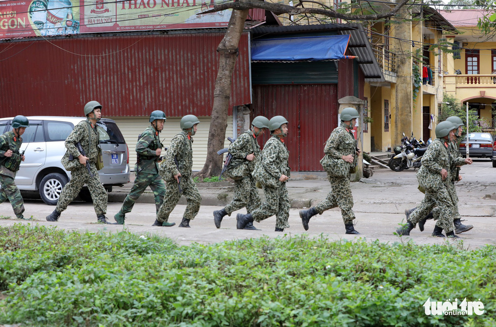 Soldiers patrol outside Dong Dang Railway Station in Lang Son Province, northern Vietnam, February 25, 2019. Photo: Viet Dung / Tuoi Tre