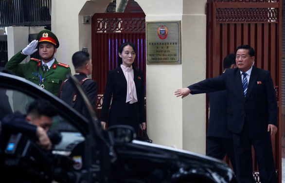Kim Yo Jong, sister of North Korea's leader Kim Jong Un, leaves the North Korean Embassy in Hanoi after a visit on February 26, 2019. Photo: Nam Tran / Tuoi Tre