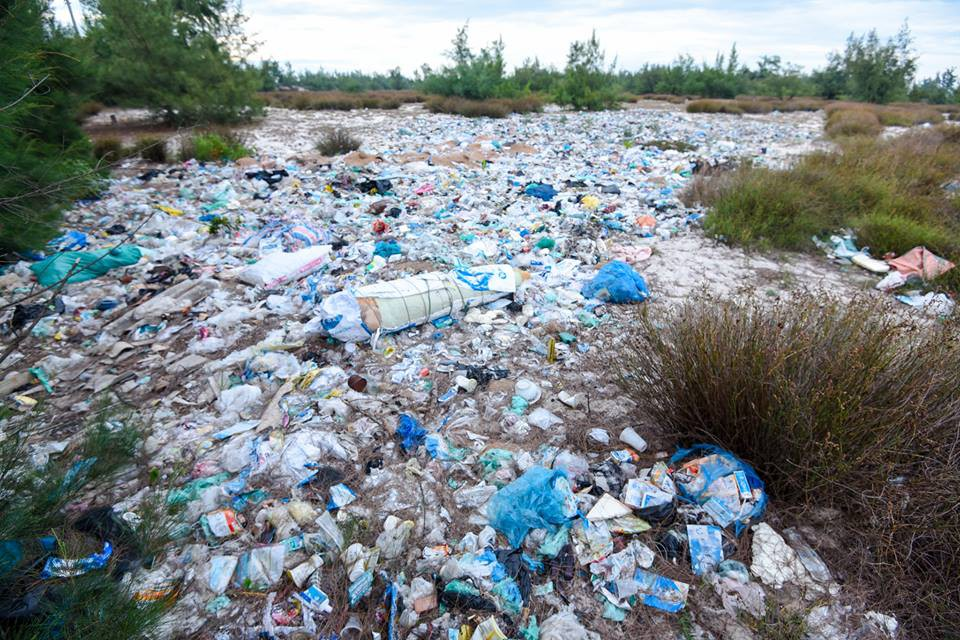 Garbage in the north-central province of Quang Binh
