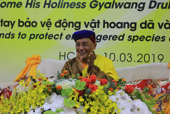 His Holiness the Gyalwang Drukpa speaks at the event. Photo: Trong Nhan/ Tuoi Tre