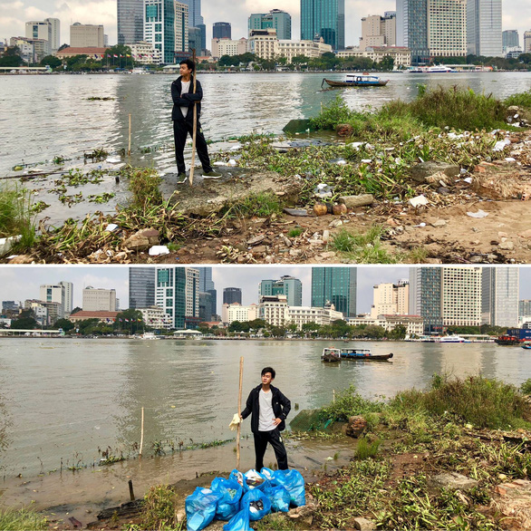 Doan Hoang's before and after photos of cleaning up a river bank area near Ong Cay Bridge in District 2, Ho Chi Minh City. Photo: Supplied