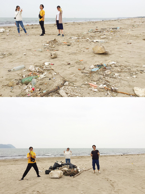 A group of friends cleaning up an area at Cua Lo Beach in Nghe An Province. Photo: Supplied