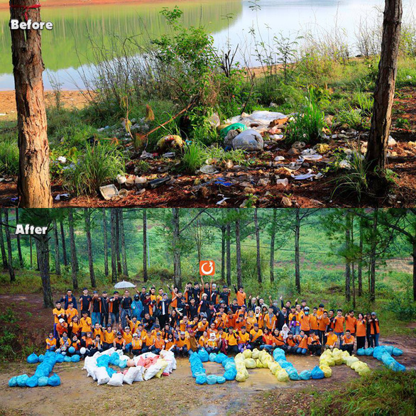 A backpacking group in Da Lat cleans up during their trip. Photo: Supplied