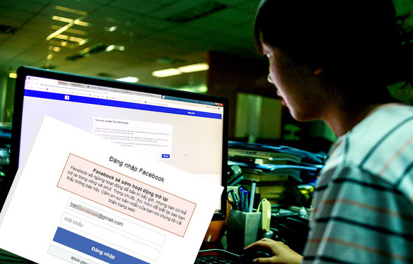 A user is unable to access Facebook on March 14, 2019. Photo: Hoang Dong / Tuoi Tre