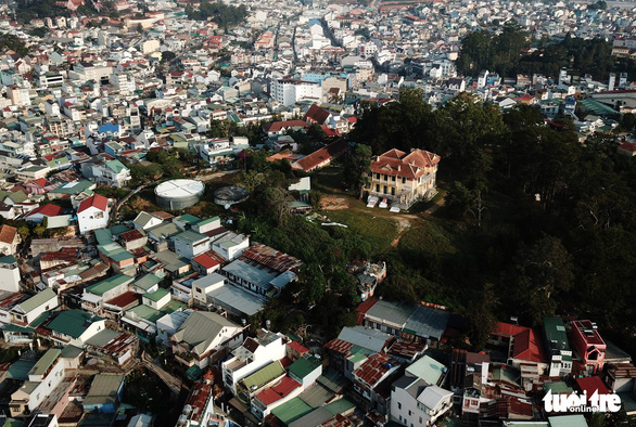 The Dinh Hill is seen from above in the center of Da Lat City, the Central Highlands province of Lam Dong. Photo: Mai Vinh / Tuoi Tre