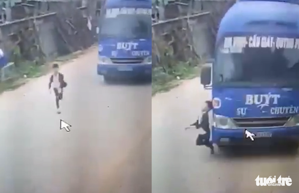 Six-year-old boy nearly hit by bus after jaywalking in central Vietnam