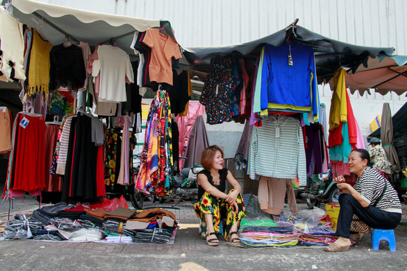 A clothing stall at the market