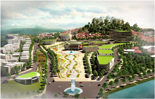 A 3D plan for the future downtown area of Da Lat featuring modern structures and a large square.