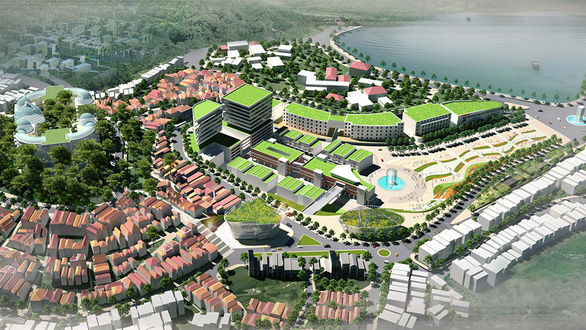 A 3D plan for the future downtown area of Da Lat featuring modern structures and a large square. Photo: HTT