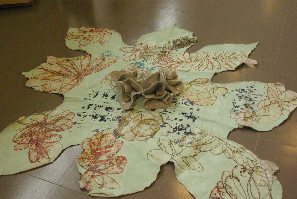 A synthetic-paper lotus installation by Mark Cooper. Photo: Doan Nhan / Tuoi Tre