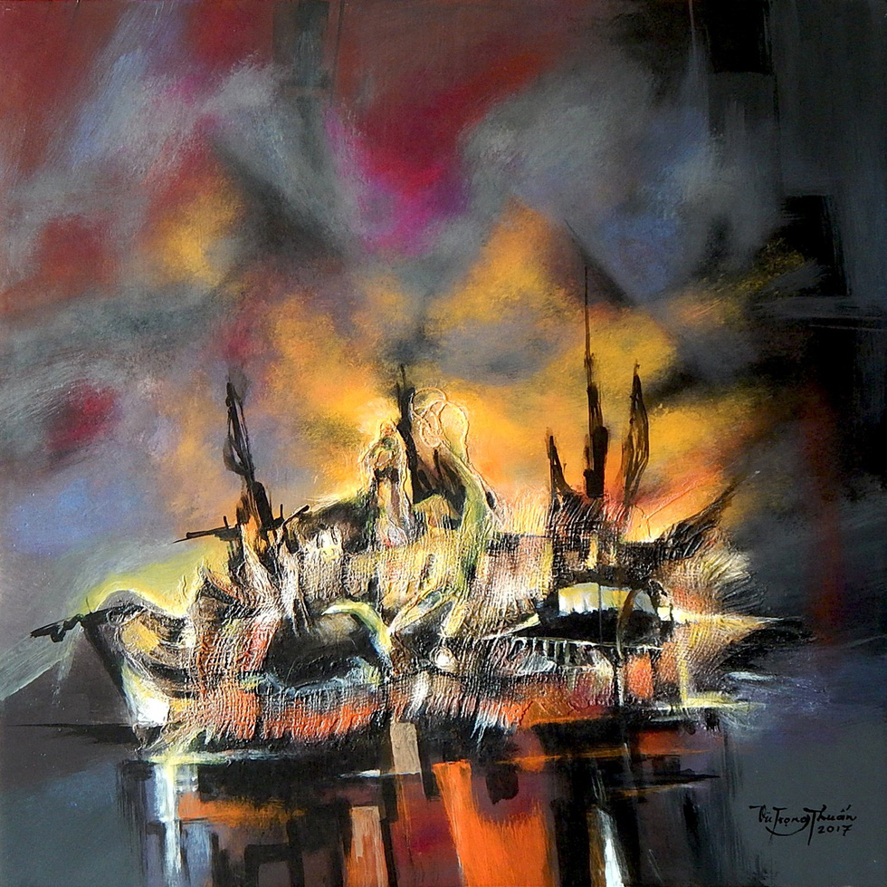 "The acrylic painting ""Boat"" by Vu Trong Thuan."