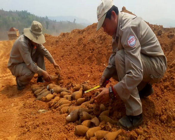 Wartime artillery shells unearthed from farmland in north-central Vietnam