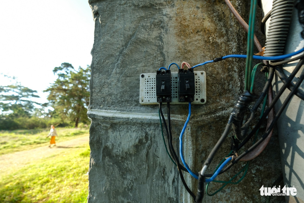 Electrical circuit breakers are installed outside the 'Dinh Tinh Truong' provincial governor's palace in Da Lat, Vietnam. Photo: Mai Vinh / Tuoi Tre