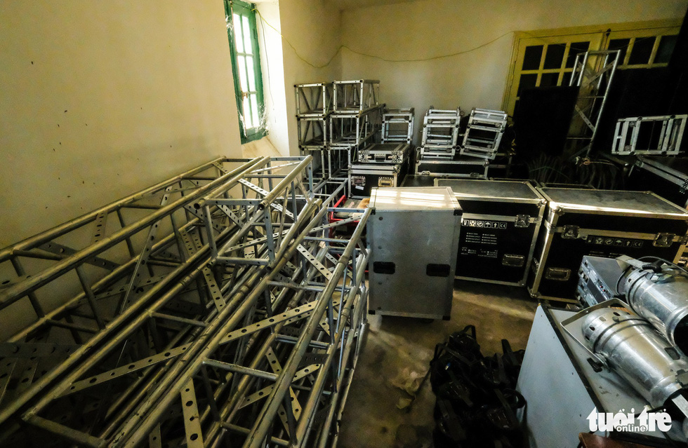 A room inside the 'Dinh Tinh Truong' provincial governor's palace in Da Lat, Vietnam is used as storage room for stage equipment. Photo: Mai Vinh / Tuoi Tre