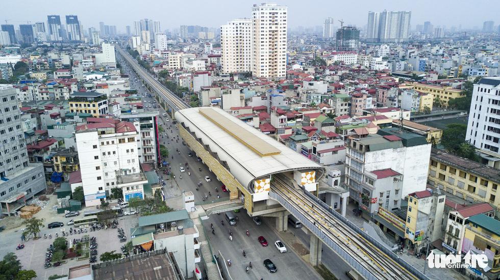 An aerial photo of the Cat Linh – Ha Dong urban railway line in Hanoi. Photo: Nam Tran / Tuoi Tre