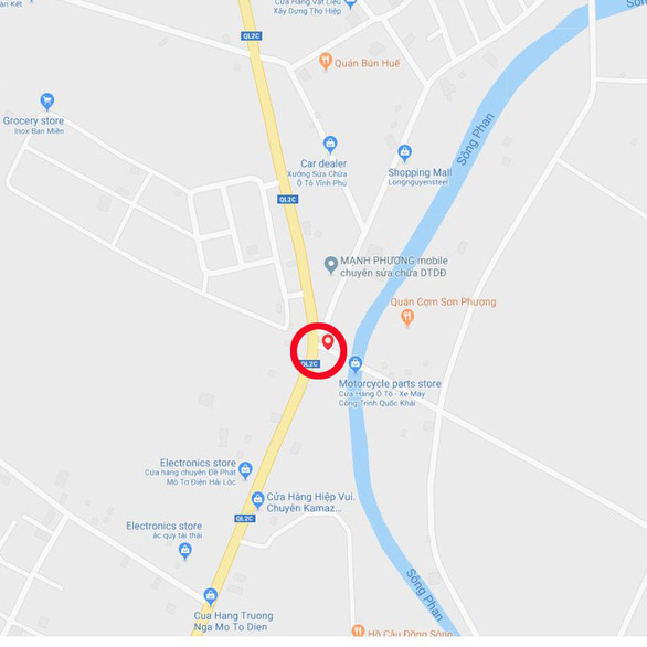 A map detailing the location where the accident happened
