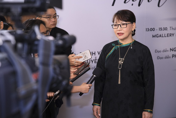 Trinh Cong Son's younger sister Trinh Vinh Trinh speaks at the press conference in Ho Chi Minh City on March 28, 2019. Photo: Organizer