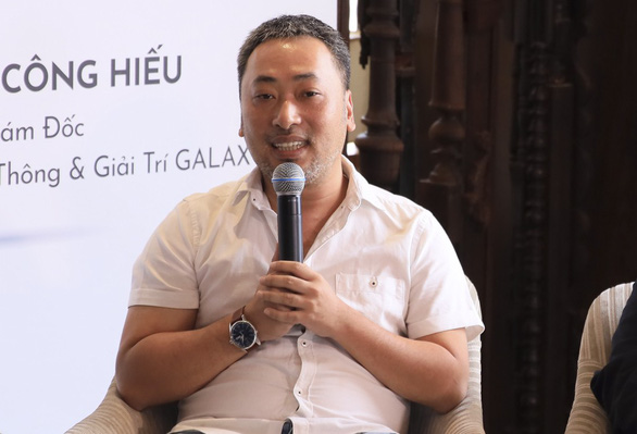 Filmmaker Nguyen Quang Dung speaks at the press conference in Ho Chi Minh City on March 28, 2019. Photo: Organizer