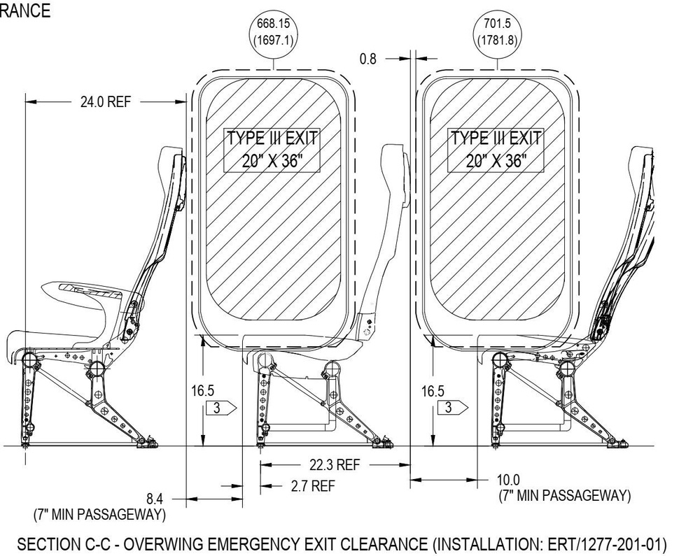 The blueprint of an Airbus aircraft shows seats can be installed next to emergency exit doors. Photo: Bamboo Airways