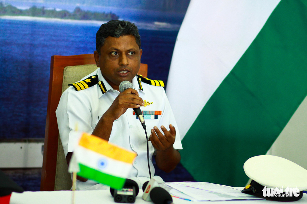 Commandant T. Ashish, captain of the VIJIT, answers questions during a press conference on board the Indian Coast Guard ship at Tien Sa Port, Da Nang , April 1, 2019. Photo: Tan Luc / Tuoi Tre