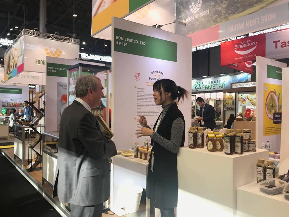 Nguyen Phuong Linh introduces her product and company at SIAL Paris international food fair held in October 2018, where Bonie Bee had a stand. Photo: Supplied