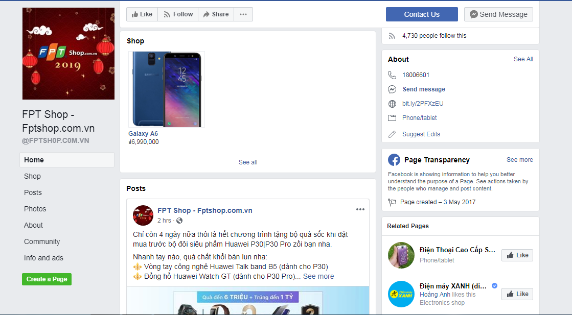 A fake Facebook page of mobile retailer FPT Shop is captured in this screenshot