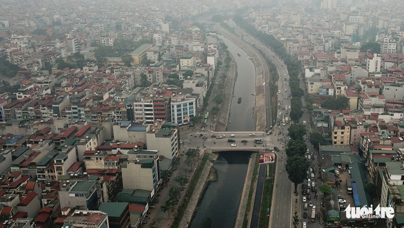 The To Lich River in Hanoi is seen in this aerial photo. Photo: Nam Tran / Tuoi Tre