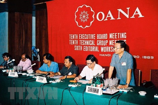 Former General Director of the Vietnam News Agency Dao Tung speaks at the tenth executive board meeting held in Hanoi from June 17 to 18, 1989. Photo: Vietnam News Agency