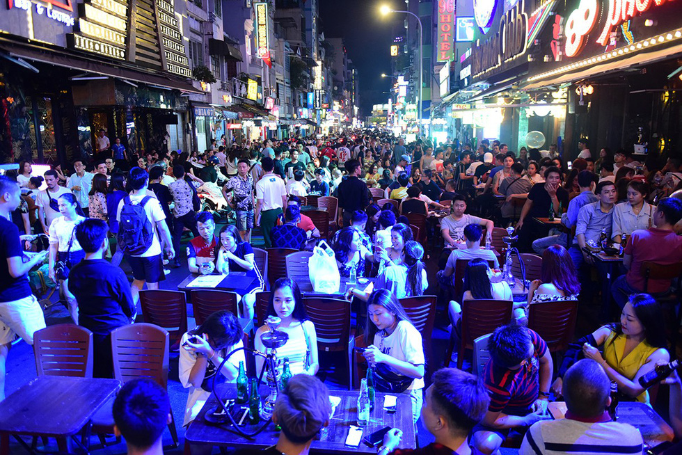 Beer parlors encroach on Bui Vien Walking Street in Ho Chi Minh City