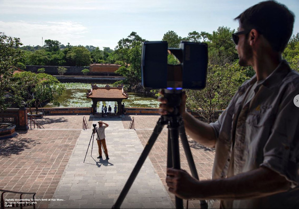CyArk specialists capture photos inside the Tomb of Tu Duc in Hue, Vietnam for digital preservation. Photo: Open Heritage