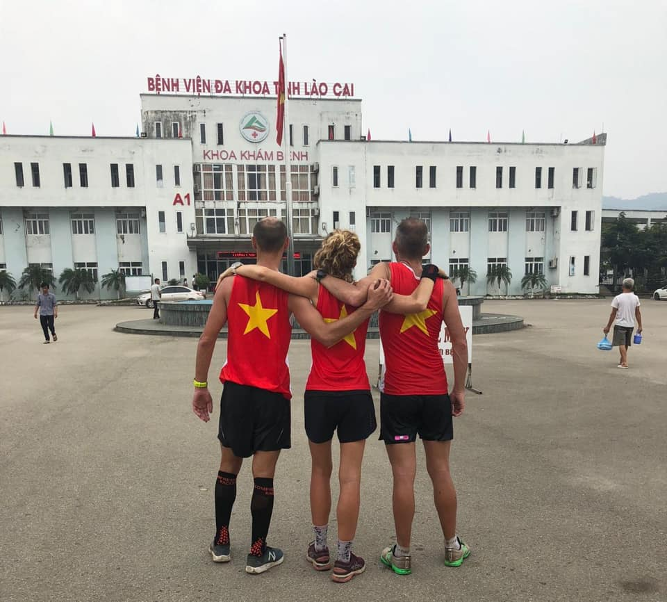 The trio pose for a picture at the Lao Cai Obstetrics Hospital in the namesake northern province, the final stop of the Red River Run on April 23, 2019. Photo: Red River Run