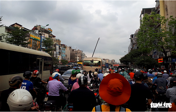 A section of Truong Chinh Street in Hanoi is congested on April 26, 2019. Photo: Ha Thanh / Tuoi Tre