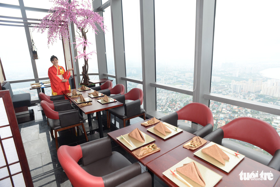 A Japanese-style fine dining restaurant on the 80th floor