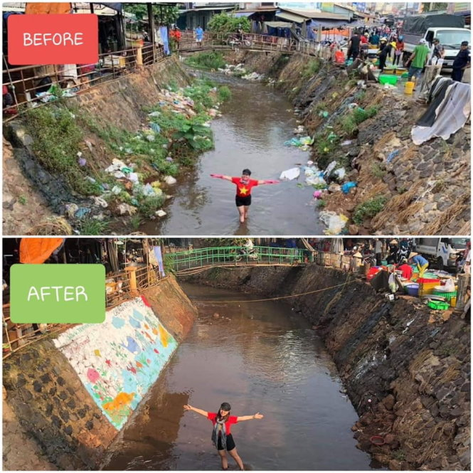 Trashpacker Giang Thi Kim Yen poses before and after cleaning up the market channel in Loc Ninh District, Binh Phuoc Province. Photo: Trashpackers VN