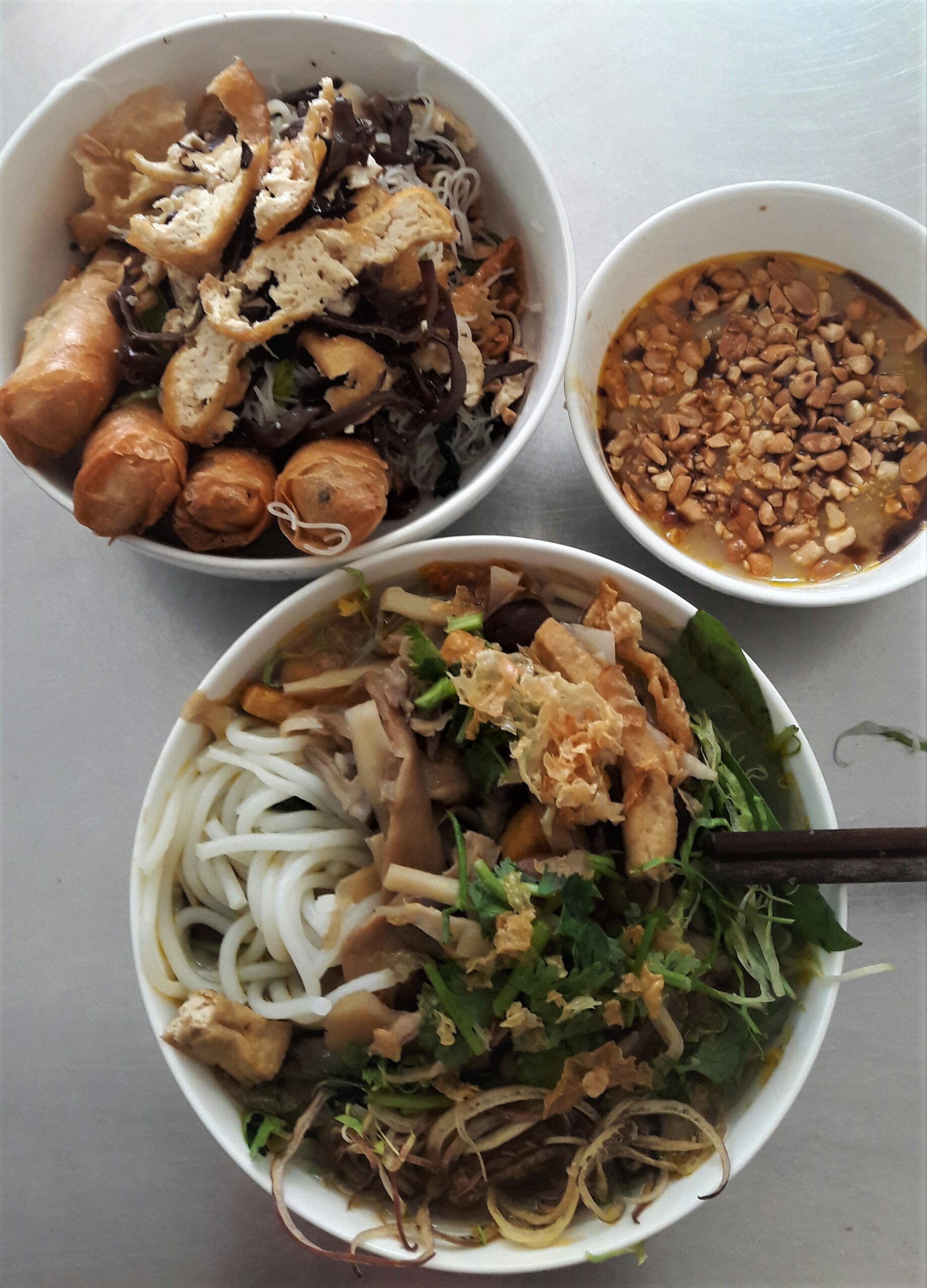 Bun chay noodles and cha gio spring rolls