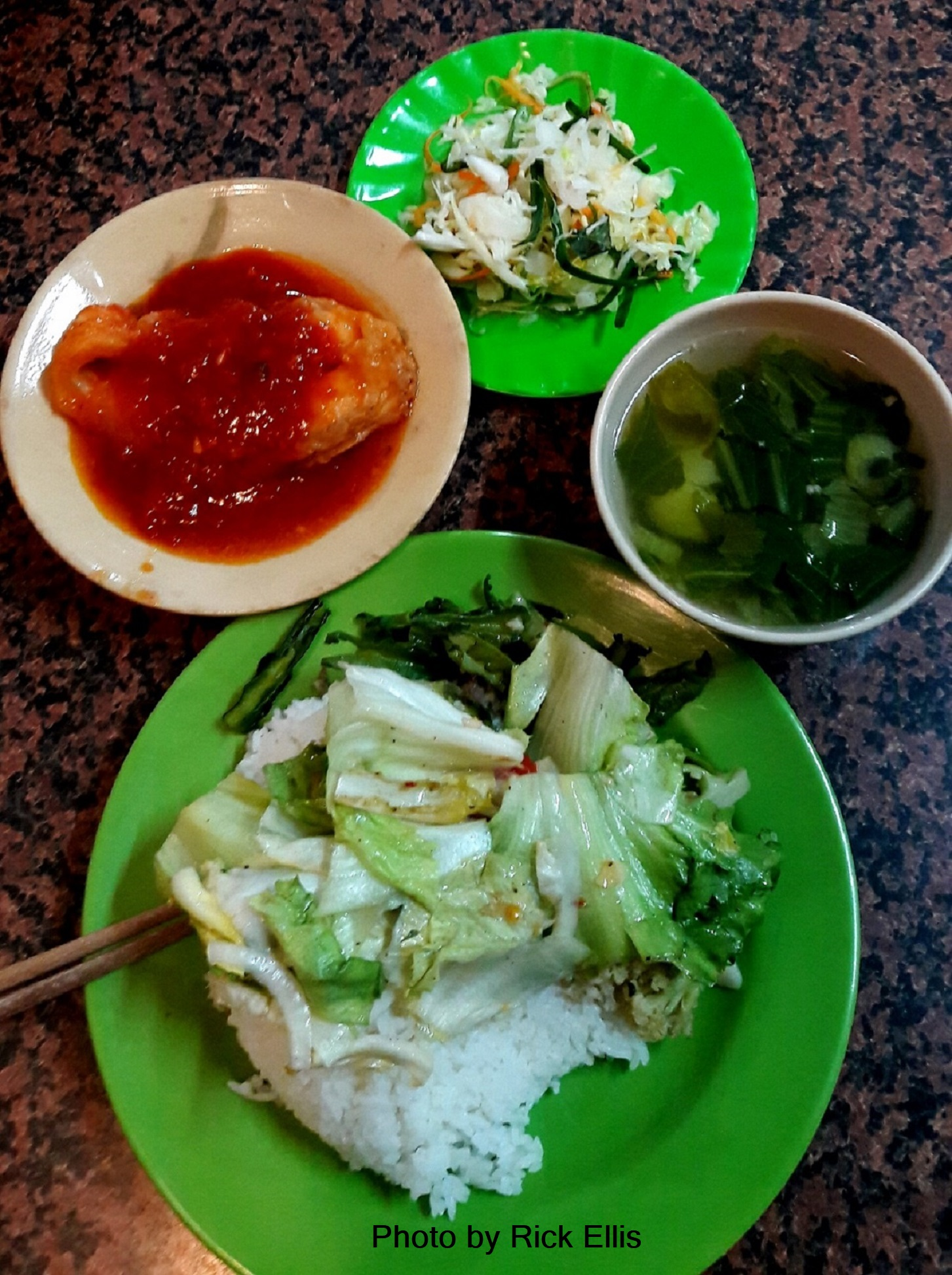 Typical com binh dan (working class) meal - VND30,000/$ 1.30